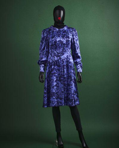 CARVEN HAUTE COUTURE 1980/90's Robe  en satin de soie imprimé feuillage bleu nui…