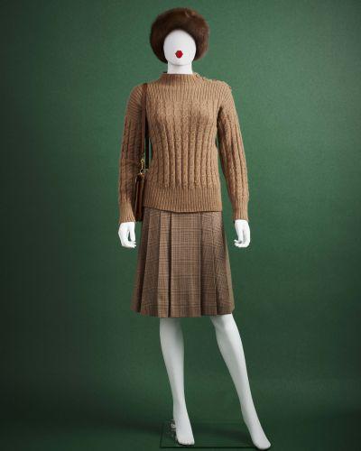 CARVEN HAUTE COUTURE 1970/80's Tailleur  en lainage prince de galles praliné et …