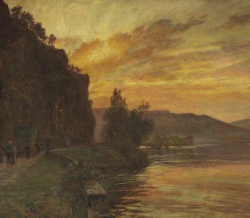 François Richard de MONTHOLON (Paris 1856 – 1940) Bord de rivière Huile sur d'or…