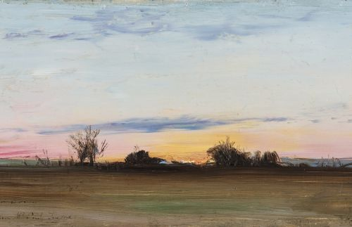 Ivan POKHITONOV (Matryonovka 1850 Bruxelles 1923) Paysage, crépuscule (vers 1880…