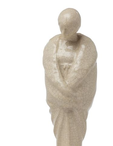 Jeanne JOZON (1868 1946) Sculpture en céramique craquelée blanche figurant une é…