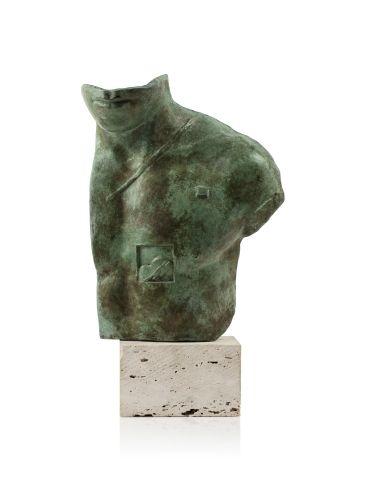 Igor MITORAJ (1944 2014) Asclépios, 1988 Bronze patiné et socle en pierre, sculp…