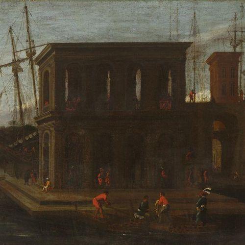 Ecole ITALIENNE du XVIIIème siècle, suiveur d'Alessandro SALUCCI Barques devant …