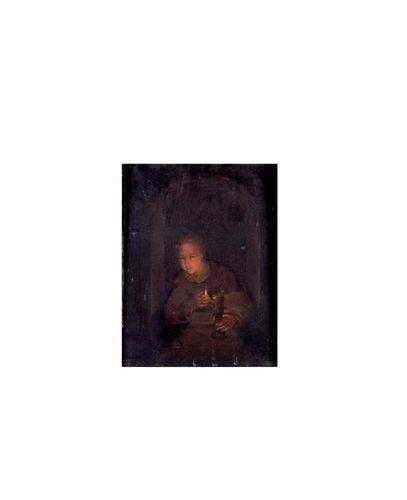 Ecole HOLLANDAISE de la fin du XVIIIème siècle Jeune femme à la chandelle Pannea…
