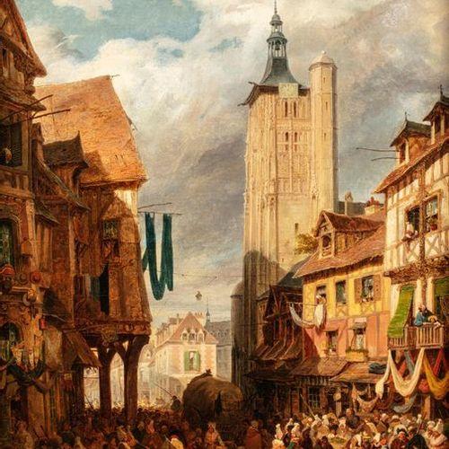 Hippolyte GARNERAY (Paris 1787 1858) Marché en Normandie Huile sur toile d'origi…