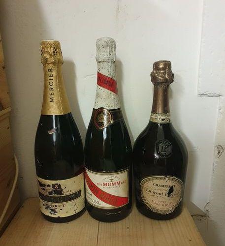 3 bouteilles CHAMPAGNE  (Laurent Perrier rosé, fânée, Mumm CR, Mercier)
