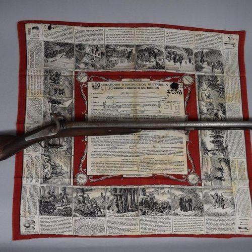 Lot comprenant un fusil de chasse à double canon en Table, système à percussion.…