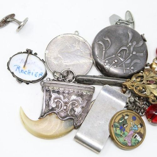 Lot of costume jewelry including pill box, cufflinks, pendants, etc...