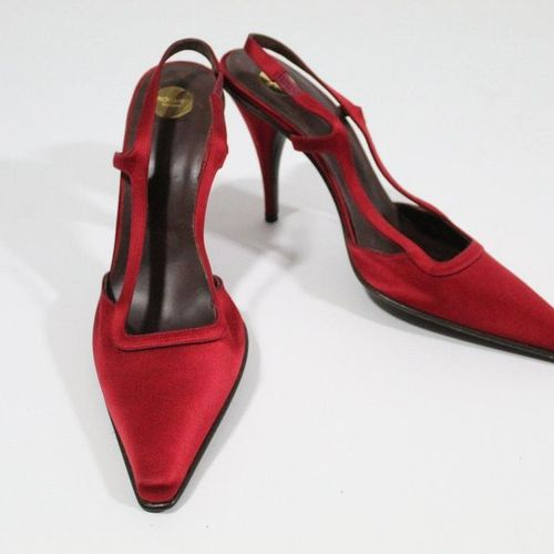 Yves Saint LAURENT YVES SAINT LAURENT Haute Couture  Pair of red satin covered b…
