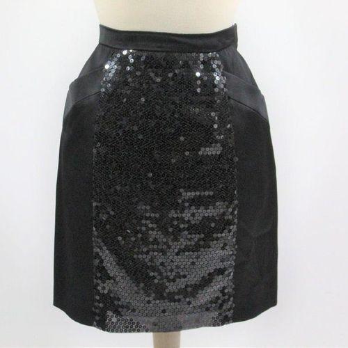 Yves Saint LAURENT YVES SAINT LAURENT Left Bank  Two piece black satin skirt wit…