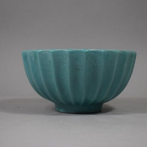 Alice SORDET BONIFAS (1902 1975)    Two large ribbed bowls, celadon glazed ceram…