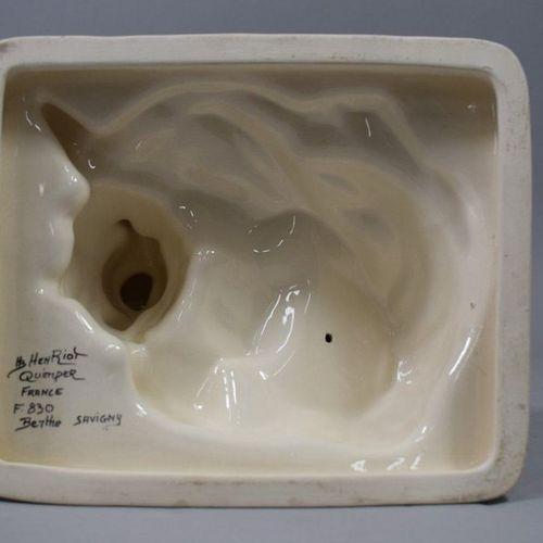"""SAVIGNY Berthe (1882 1958) HB Quimper  """" Les premiers pas """", earthenware group, …"""