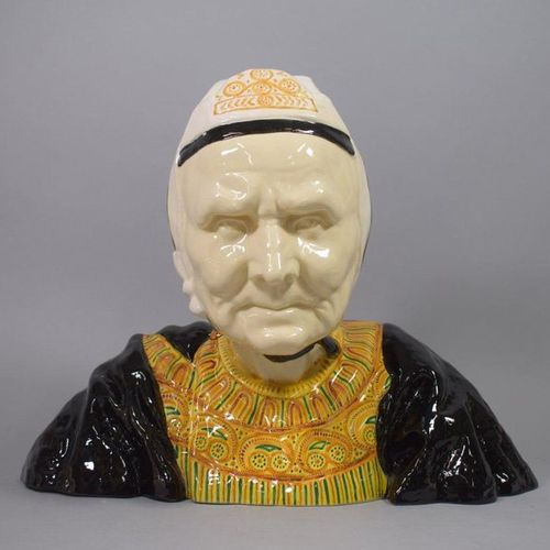 """QUIMPER PORSON  Glazed earthenware bust signed representing """"The Wicked One""""."""