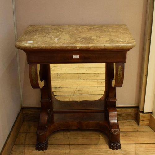 Mahogany and mahogany veneer console with acanthus leaf decoration. One drawer i…