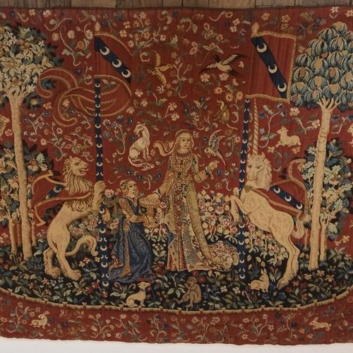 """TAPESTRY OF FRANCE AUBUSSON  """"Dame à la Licorne le goût """" pure wool tapestry in …"""
