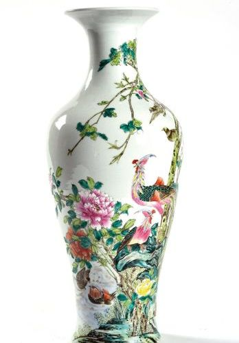 CHINA, 20th century  Large baluster vase with flared neck in polychrome enameled…
