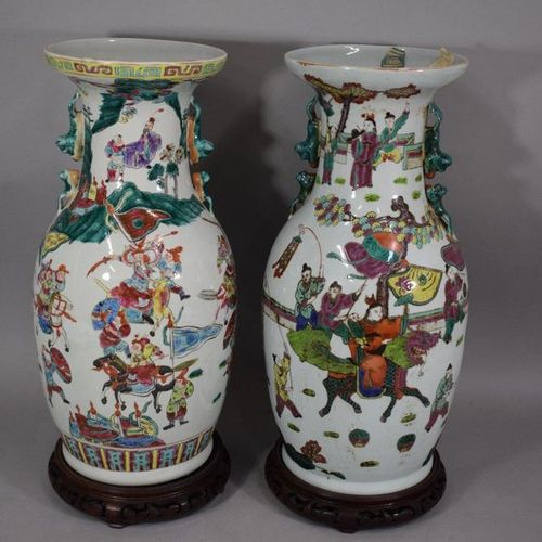 CHINA, 20th century  Two porcelain vases with polychrome enamel decoration of ch…