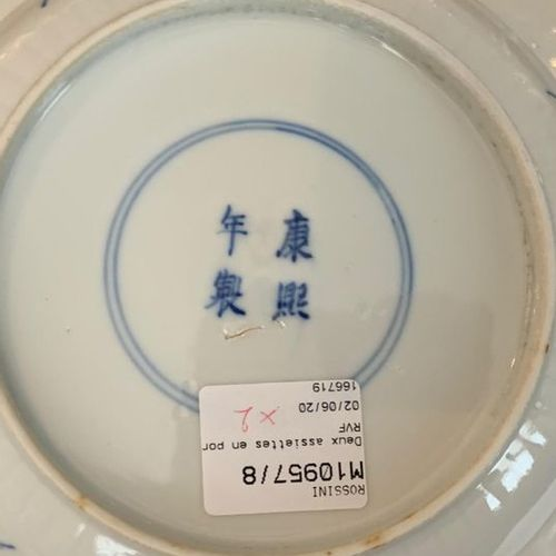 CHINA, 19th century  Pair of porcelain plates decorated in blue with stylized pe…