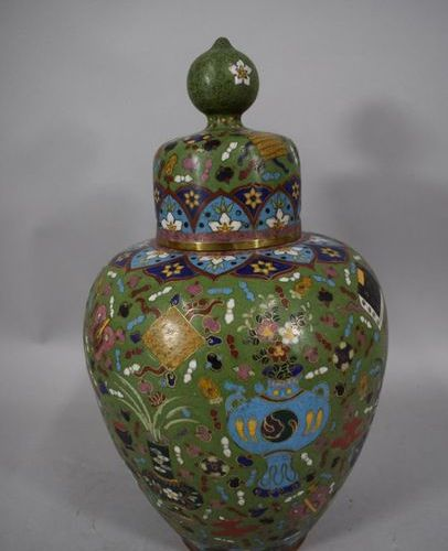 CHINA, circa 1900  Covered copper baluster vase in cloisonné enamels, decorated …