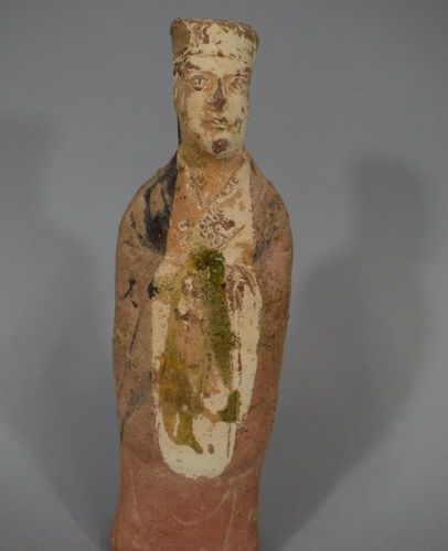 CHINA  Terracotta dignitary with polychrome engobe remains.  Restorations  H. 21…
