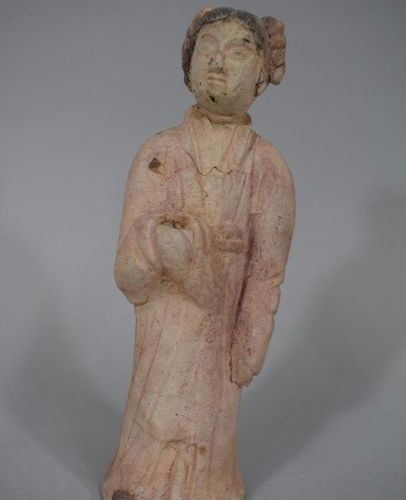 CHINA  Female character in terracotta with polychrome engoge remains, MING style…
