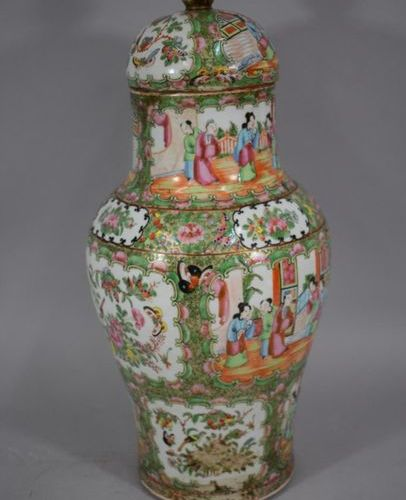 CHINA Canton, Late 19th century  Baluster vase and polychrome enameled porcelain…