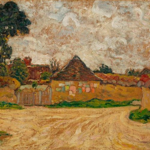 Louis VALTAT Louis VALTAT, 1869 1952  Chemin et maison aux affiches, Bernay, cir…