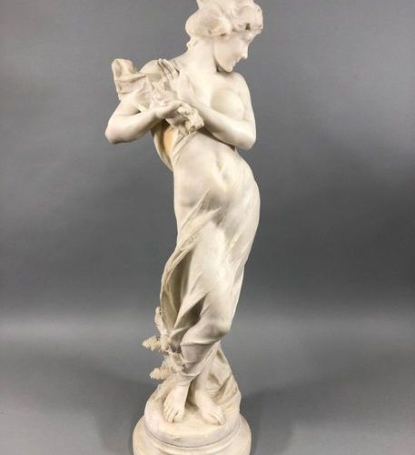 CARADOSSI Vittorio, 1861 1918, after  Bather to the sheet,  white alabaster scul…