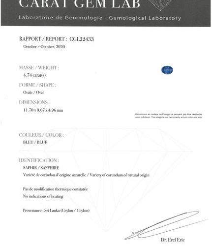 Oval sapphire on paper.  Accompanied by a report from Carat Gem Lab dated Octobe…