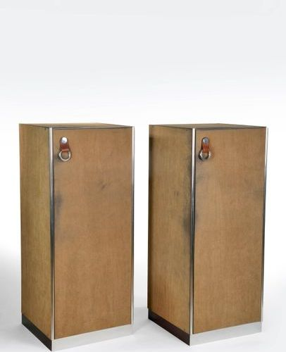 """FALESCHINI Guido (XX)  Pair of wardrobes, suede, chrome and leather wardrobes """"H…"""