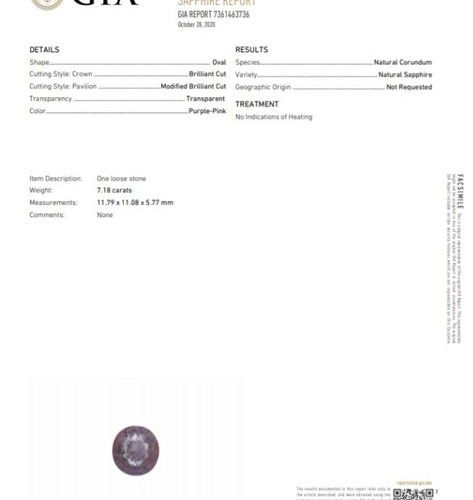 Round purple pink sapphire on paper.  Accompanied by a GIA certificate dated 28/…