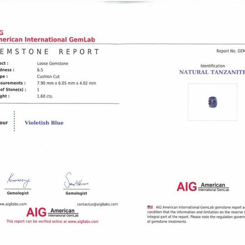 Pairing of tanzanite cushions on paper.  Each accompanied by an AIG certificate …