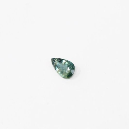 Pear sapphire on paper.  Probably unheated / Tanzania.  Weight: 2.46 cts.