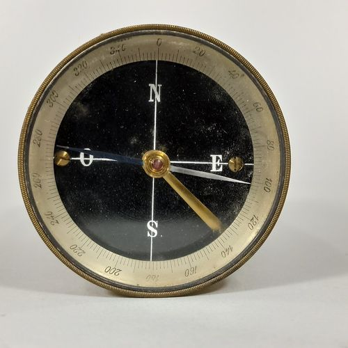 Pantometer or gable bracket in brass with compass integrated in the upper part, …
