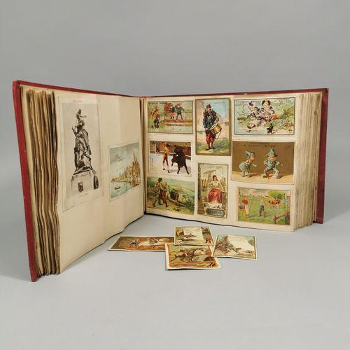 Album of chromos and bonus images including chocolate Poulain, Guérin Boutron, J…