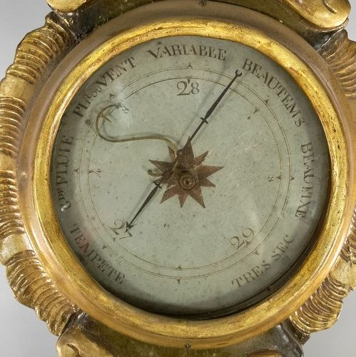 Barometer in carved wood and gilded stucco  Some accidents and misses