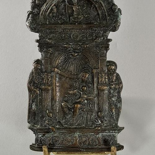 Bronze Kiss of Peace depicting the Virgin and Child sitting under a shell, with …