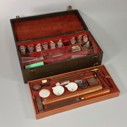 Geological research case in its box, handle on top.  2 levels of instruments inc…