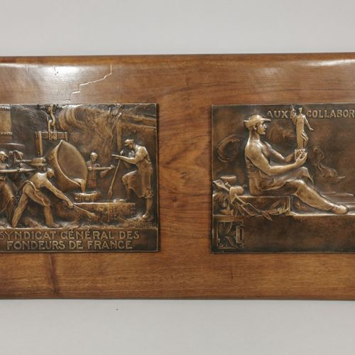 BLIN Edouard, 1877 1946  Two large rectangular bronze medals fixed on a wooden p…