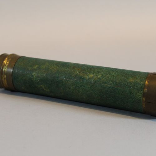 Four sided folding telescope in brass covered with green leather (wear).  Late 1…