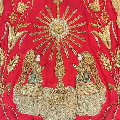 Rich pastoral stole of red cloth embroidered with gold thread and decorated on o…
