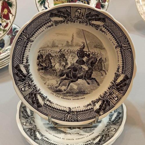 "CREIL ET MONTEREAU  7 earthenware plates with printed polychrome decoration "" Th…"