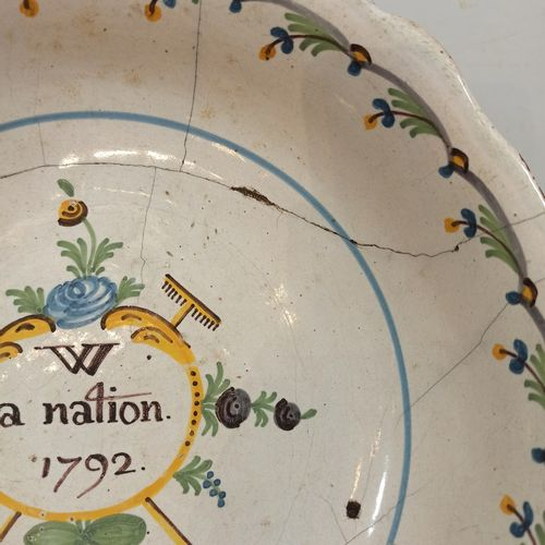 NEVERS XVIIIth CENTURY.  Earthenware salad bowl with patriotic polychrome decora…