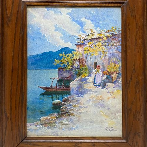 KRALL, 20th century  Gambria San Mamette  pair of watercolour landscapes forming…