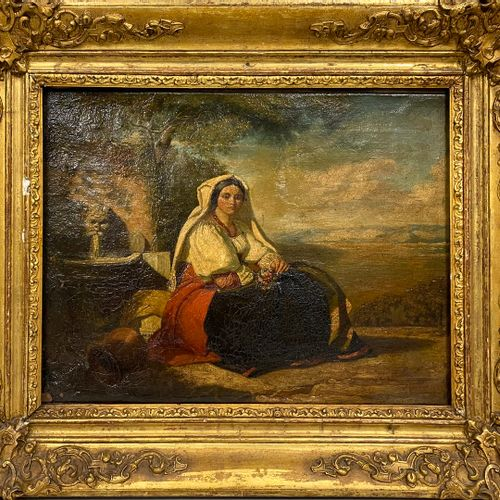 FRENCH SCHOOL ENVIRONMENTAL 19th century  Italian at the fountain  oil on canvas…