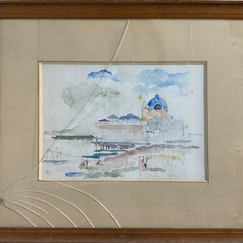 KOHL Pierre, 1897 1985  The casino at the pier, Nice, 1931.  Watercolour (freckl…
