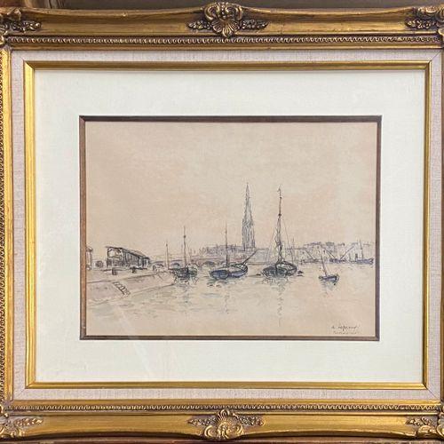LEPREUX Albert, 1868 1959  Sailboats on the Garonne, Bordeaux, 1928  watercolour…