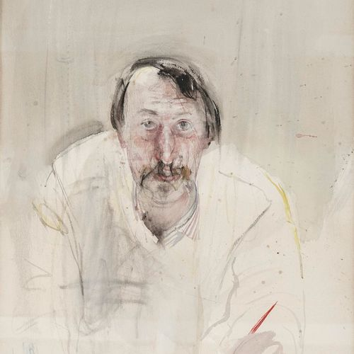 BOTSOGLOU Chronis, born in 1941  Self portrait with brush, 1980  watercolour (su…