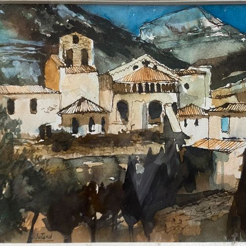 JUTAND Pierre, 1935 2019  Mountain Village  Watercolor, feathers, brown ink and …