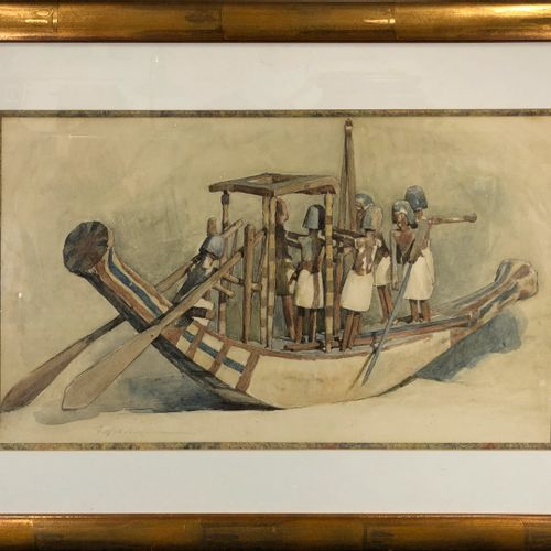 HALL NEALE George, 1863 1940  Egyptian Model Ship  watercolour on paper (small r…